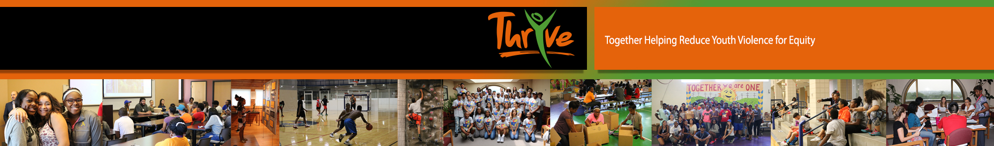 ThrYve logo and banner image featuring a collage with photos of youth in the organization.